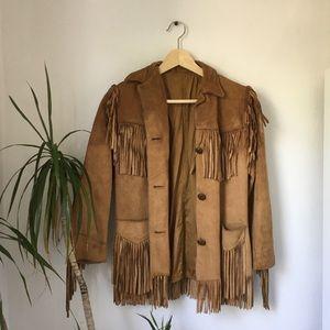 1960's K-Bar-Z Fringe Nubuck Tan Leather Jacket